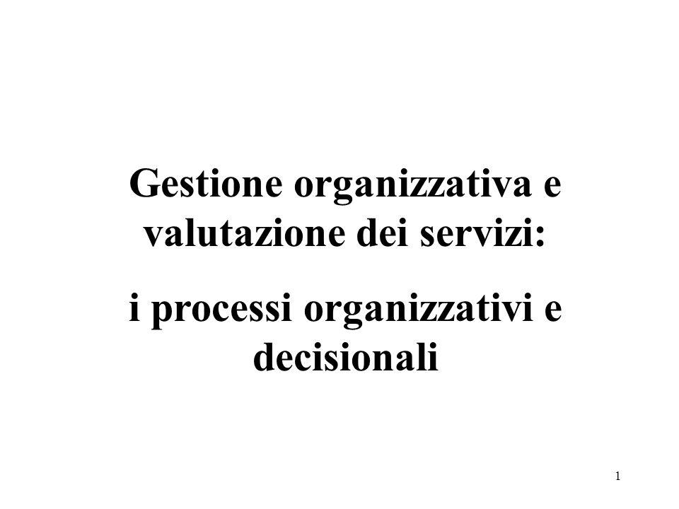 Gestione organizzativa e valutazione dei servizi: