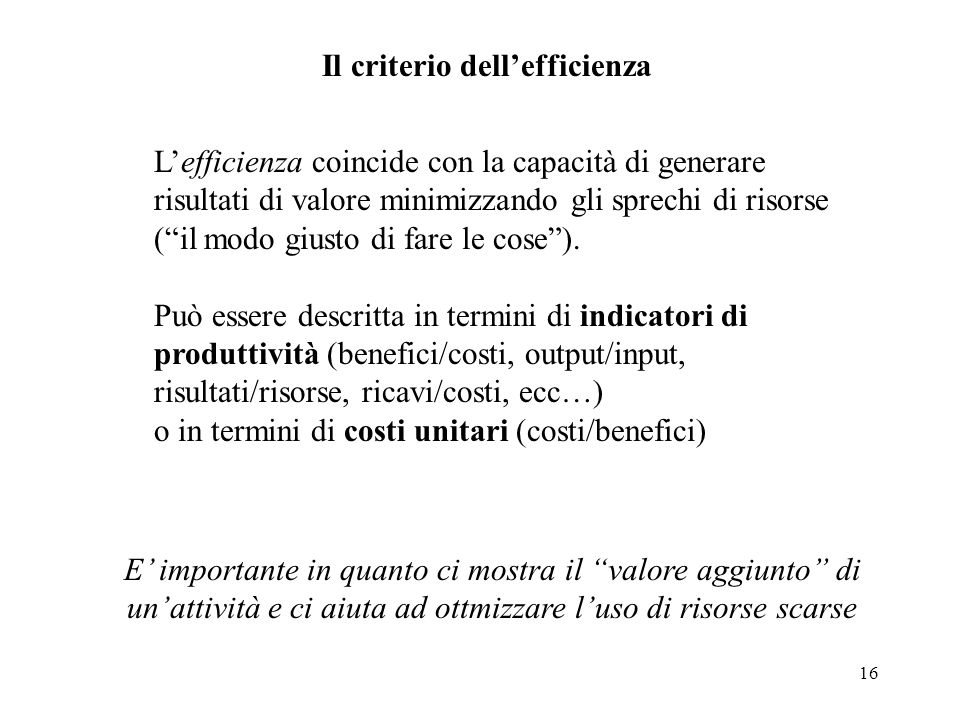 Il criterio dell'efficienza