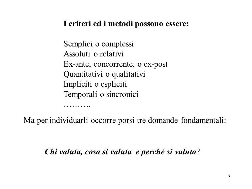 I criteri ed i metodi possono essere: