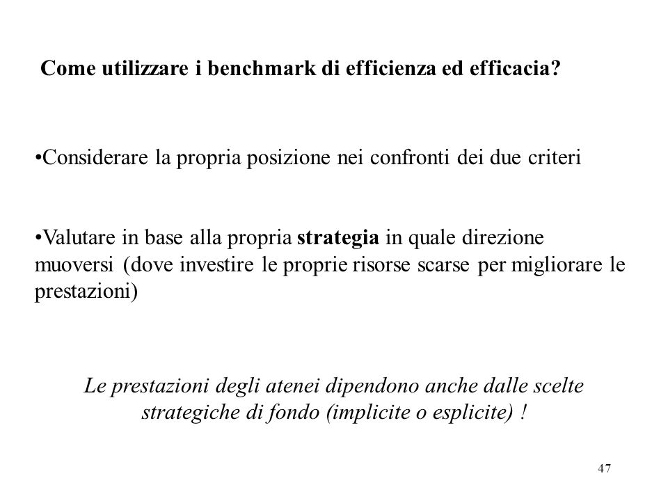 Come utilizzare i benchmark di efficienza ed efficacia