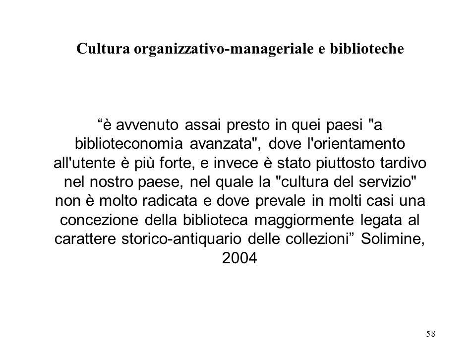Cultura organizzativo-manageriale e biblioteche
