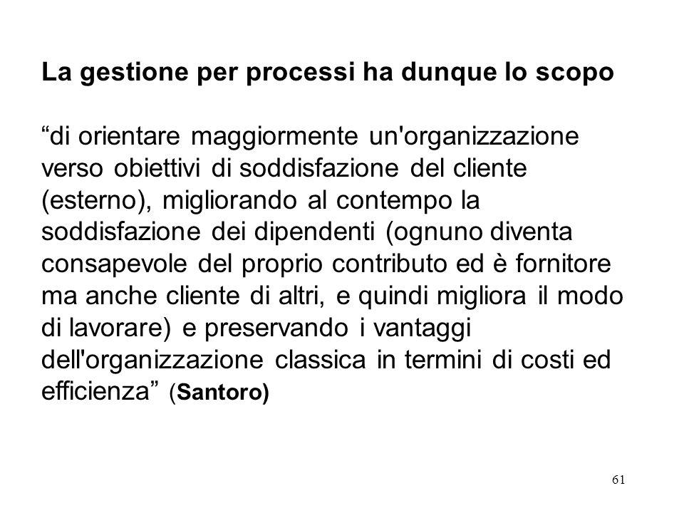 La gestione per processi ha dunque lo scopo