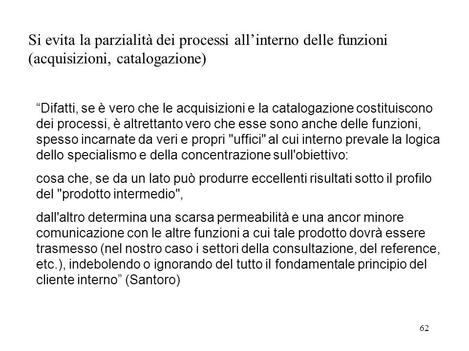 Si evita la parzialità dei processi all'interno delle funzioni (acquisizioni, catalogazione)