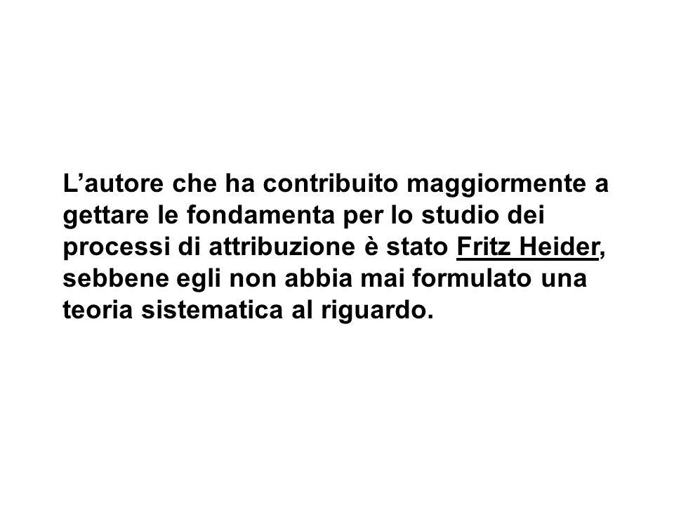 L'autore che ha contribuito maggiormente a gettare le fondamenta per lo studio dei processi di attribuzione è stato Fritz Heider, sebbene egli non abbia mai formulato una teoria sistematica al riguardo.