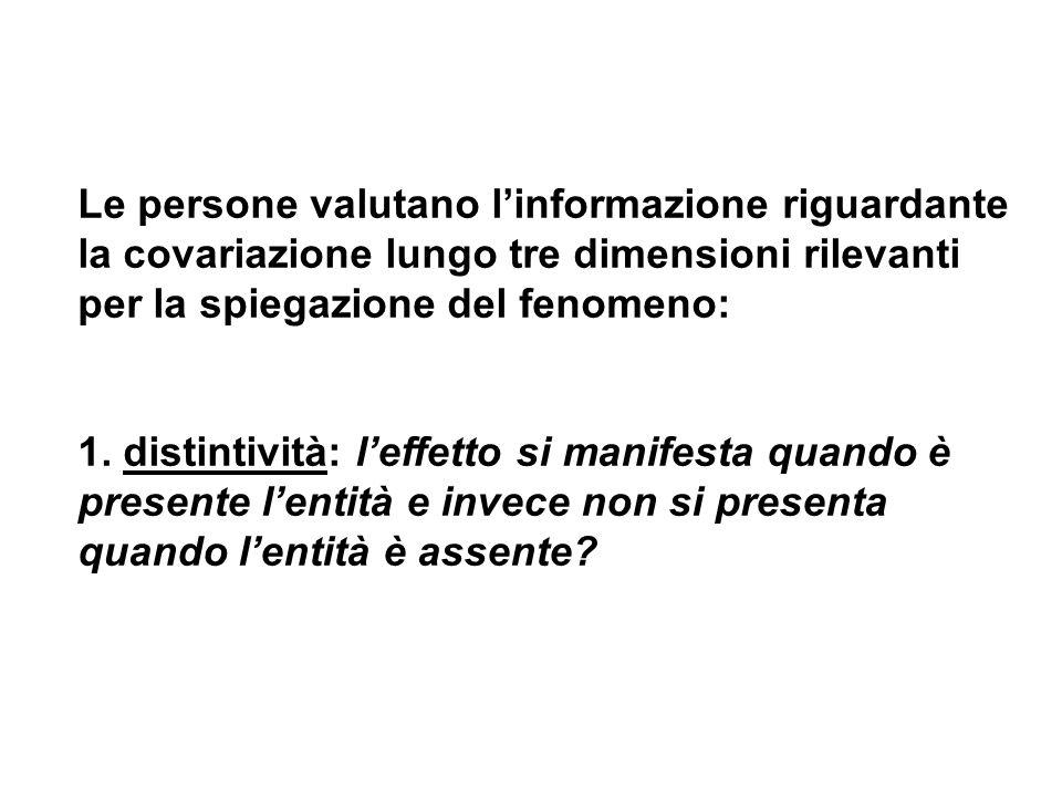 Le persone valutano l'informazione riguardante la covariazione lungo tre dimensioni rilevanti per la spiegazione del fenomeno: