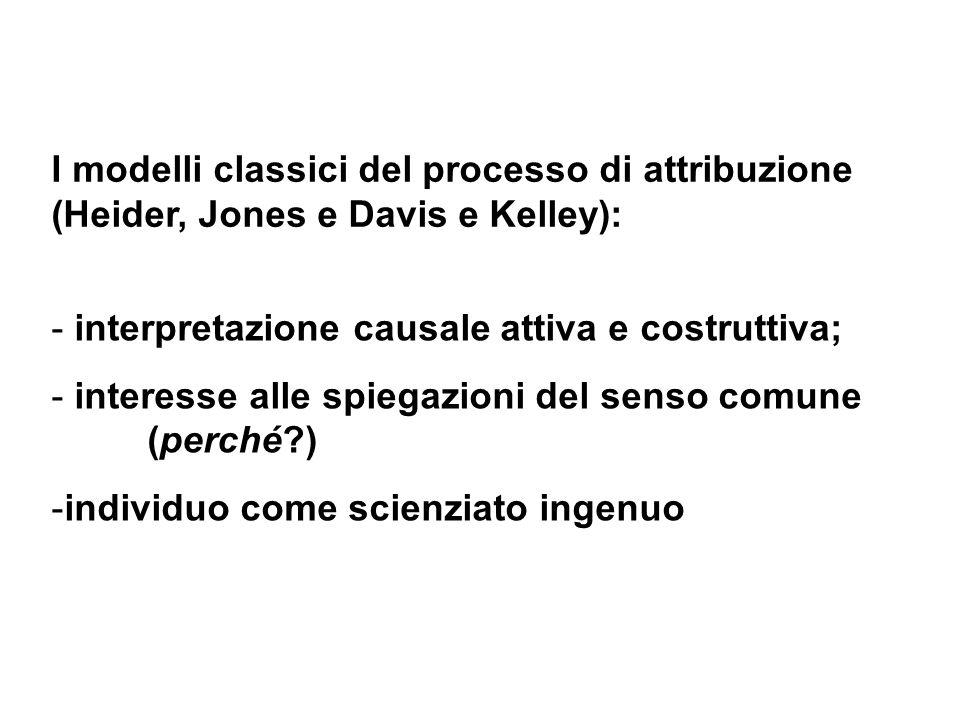 I modelli classici del processo di attribuzione (Heider, Jones e Davis e Kelley):