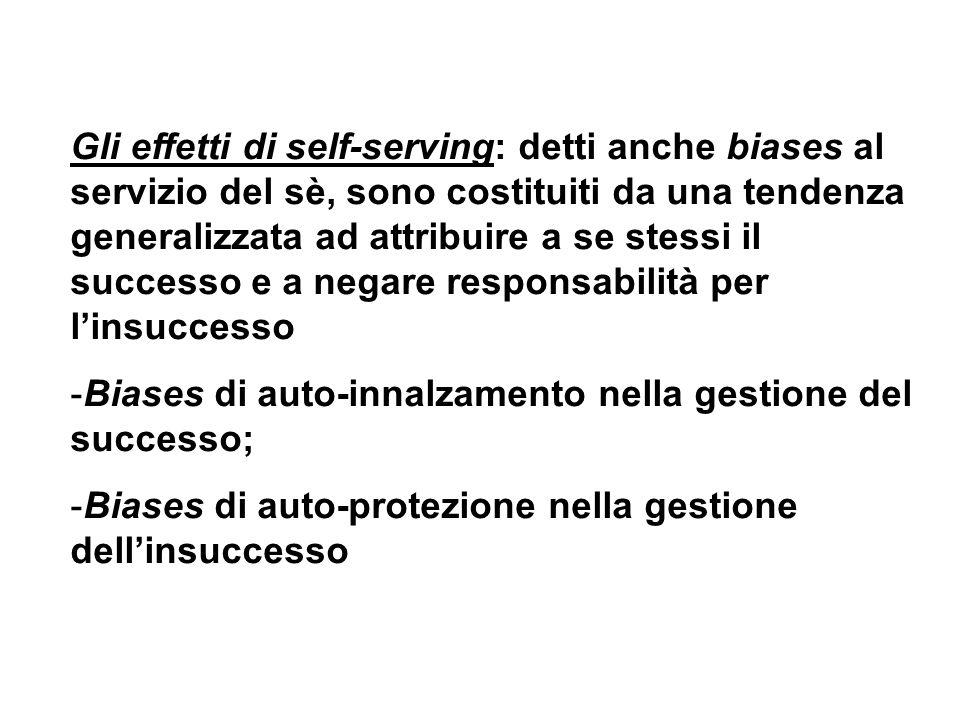 Gli effetti di self-serving: detti anche biases al servizio del sè, sono costituiti da una tendenza generalizzata ad attribuire a se stessi il successo e a negare responsabilità per l'insuccesso