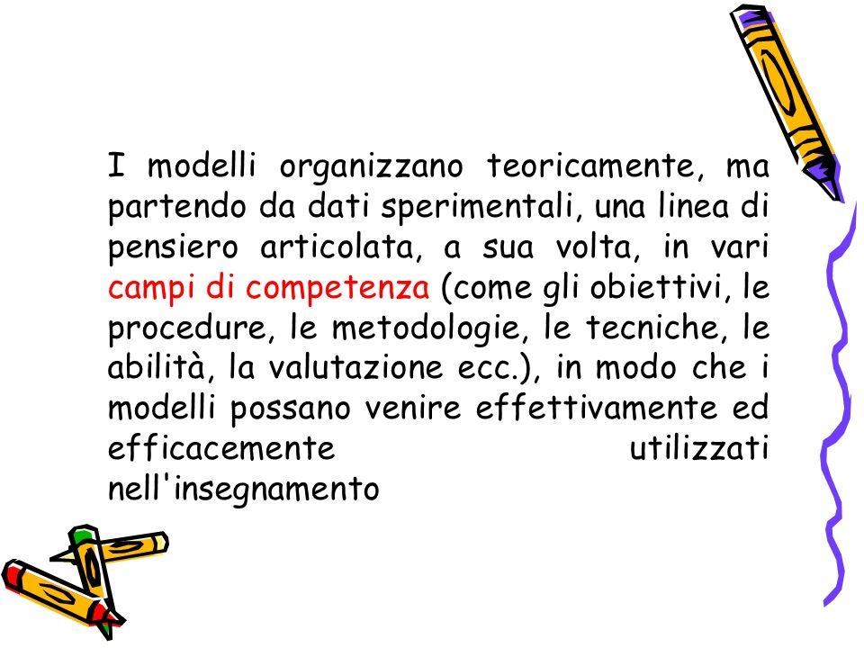 I modelli organizzano teoricamente, ma partendo da dati sperimentali, una linea di pensiero articolata, a sua volta, in vari campi di competenza (come gli obiettivi, le procedure, le metodologie, le tecniche, le abilità, la valutazione ecc.), in modo che i modelli possano venire effettivamente ed efficacemente utilizzati nell insegnamento