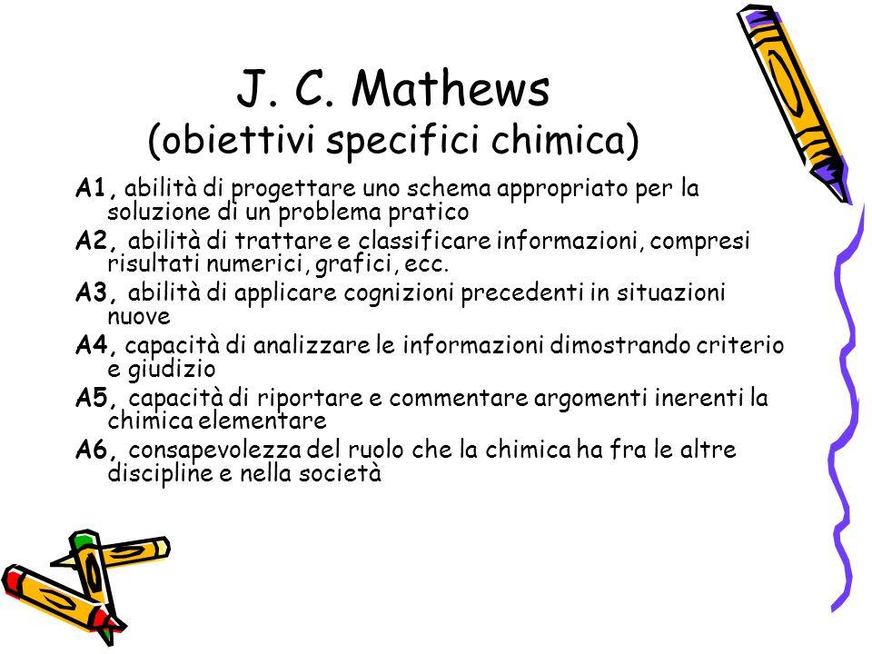J. C. Mathews (obiettivi specifici chimica)