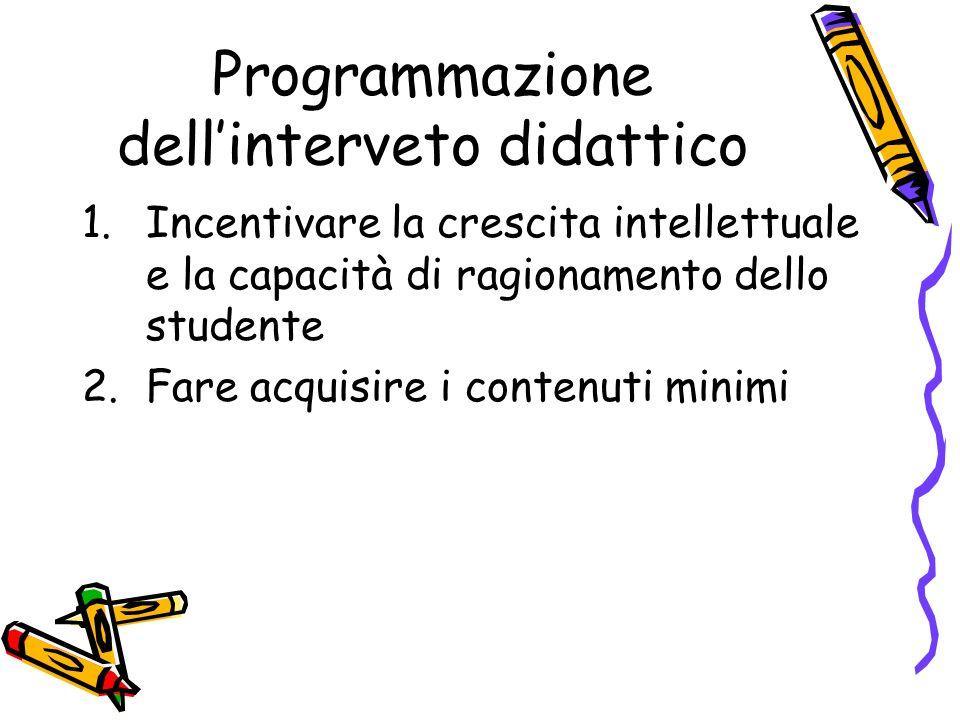 Programmazione dell'interveto didattico