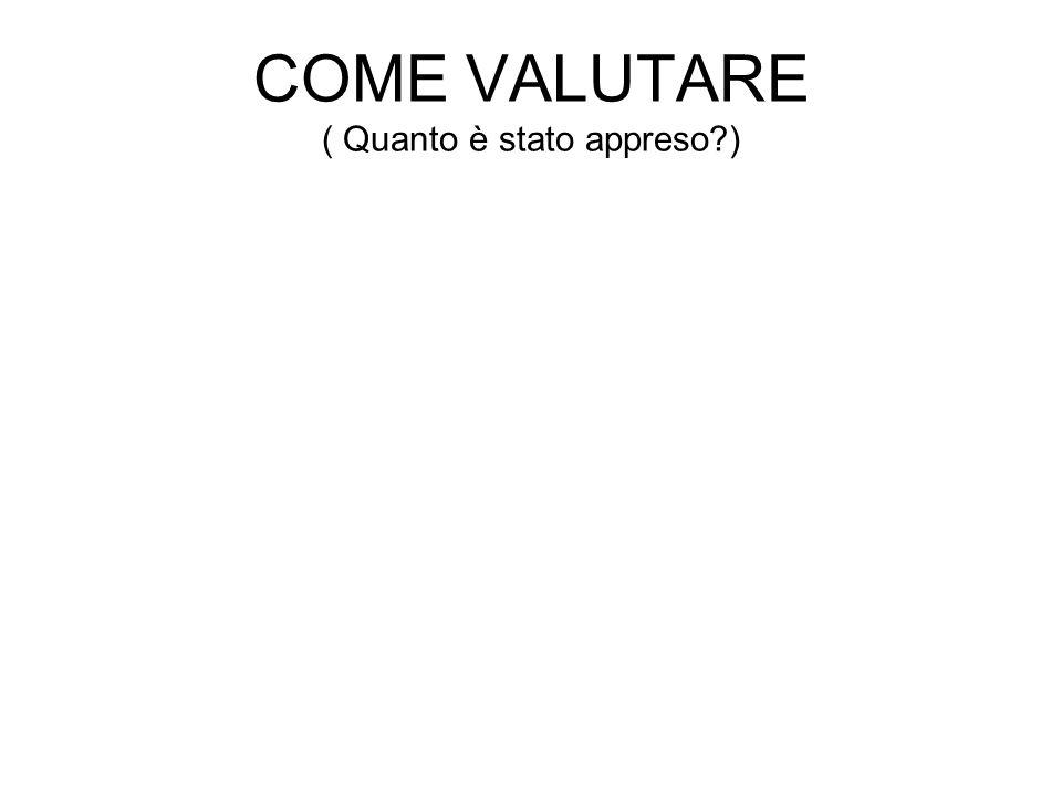 COME VALUTARE ( Quanto è stato appreso )