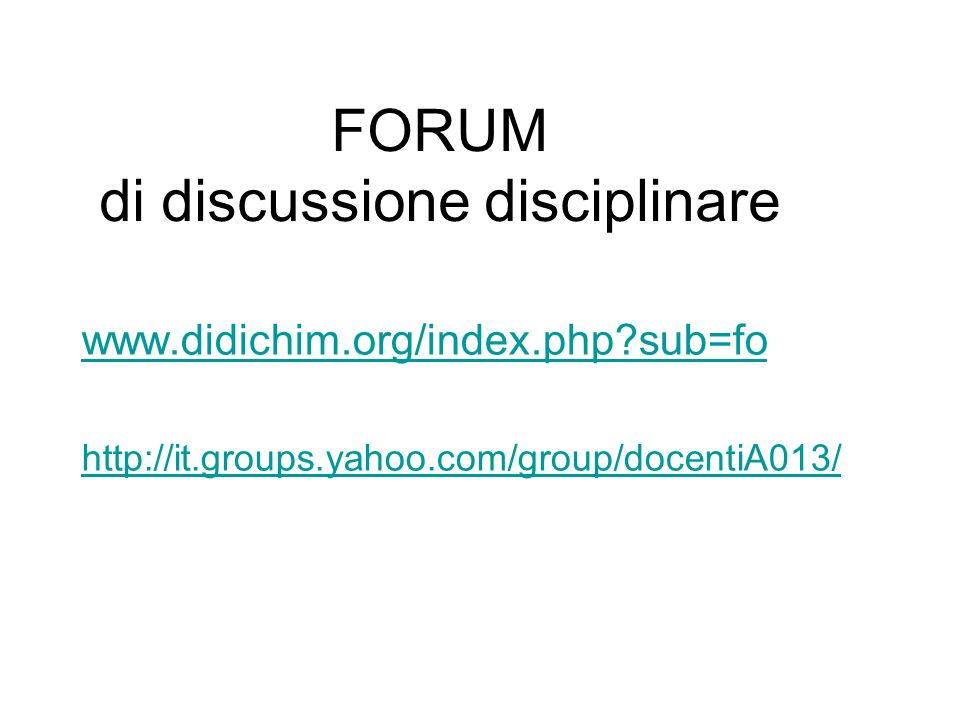 FORUM di discussione disciplinare