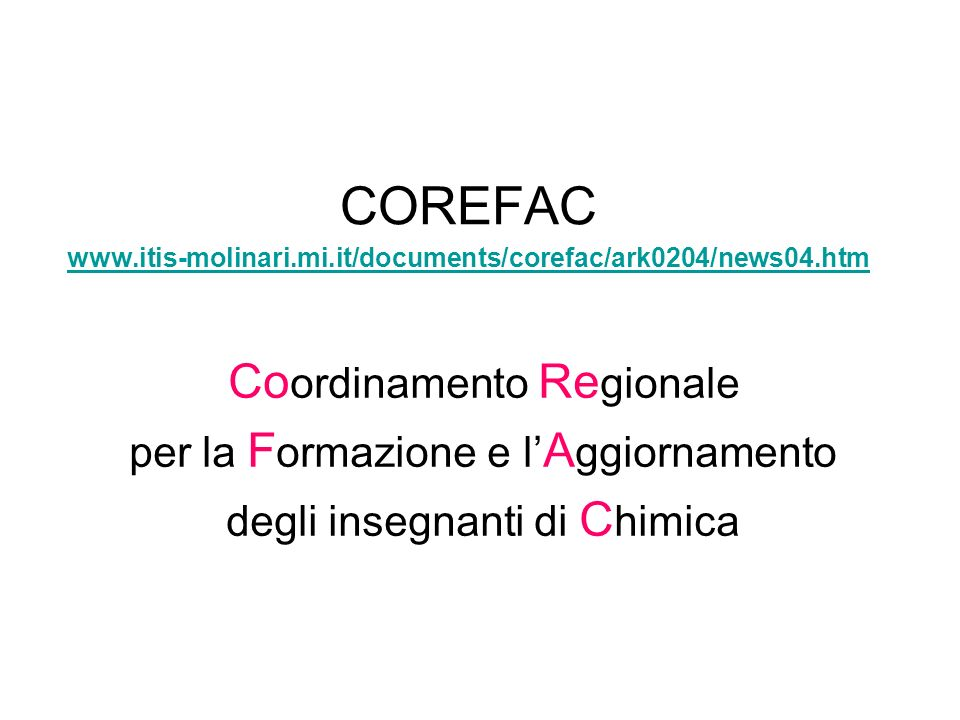 COREFAC www.itis-molinari.mi.it/documents/corefac/ark0204/news04.htm