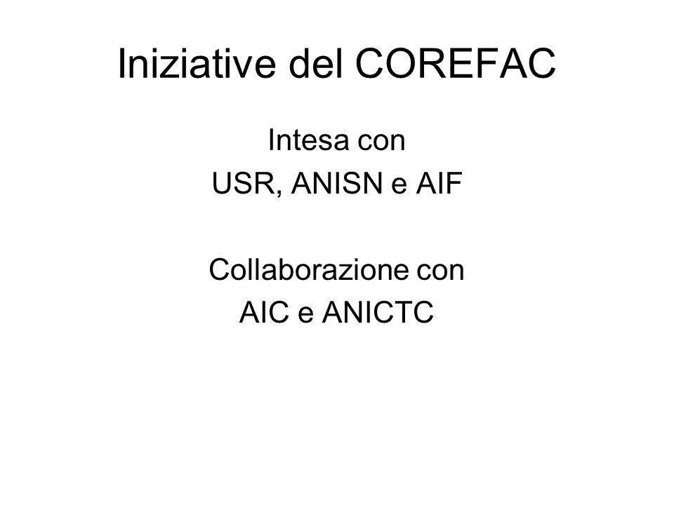 Iniziative del COREFAC