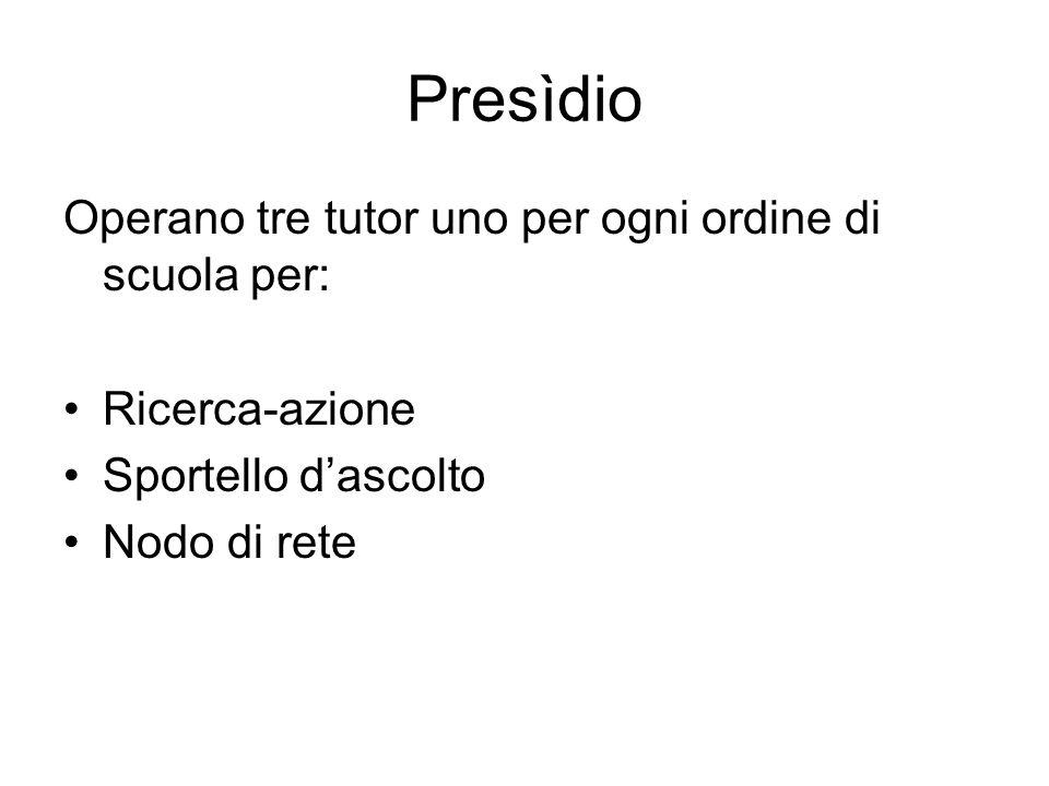 Presìdio Operano tre tutor uno per ogni ordine di scuola per: