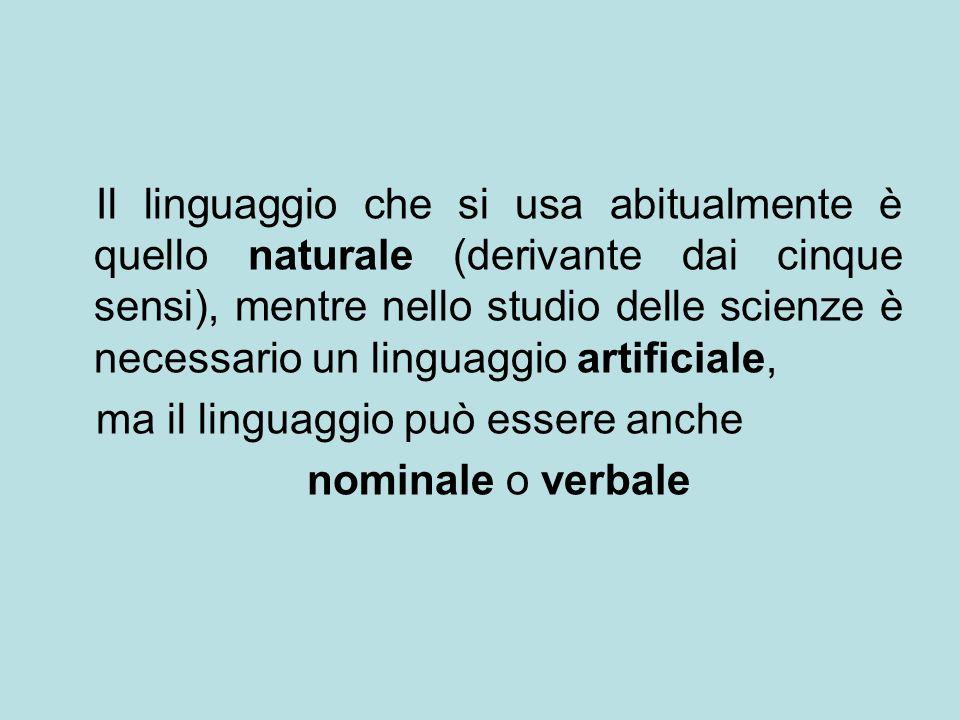 Il linguaggio che si usa abitualmente è quello naturale (derivante dai cinque sensi), mentre nello studio delle scienze è necessario un linguaggio artificiale,