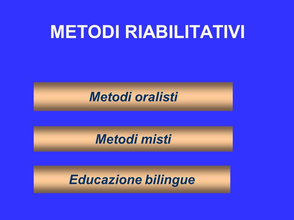 METODI RIABILITATIVI Metodi oralisti Metodi misti Educazione bilingue