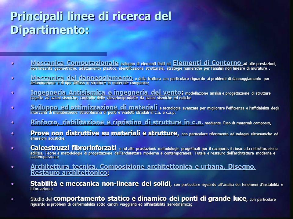 Principali linee di ricerca del Dipartimento: