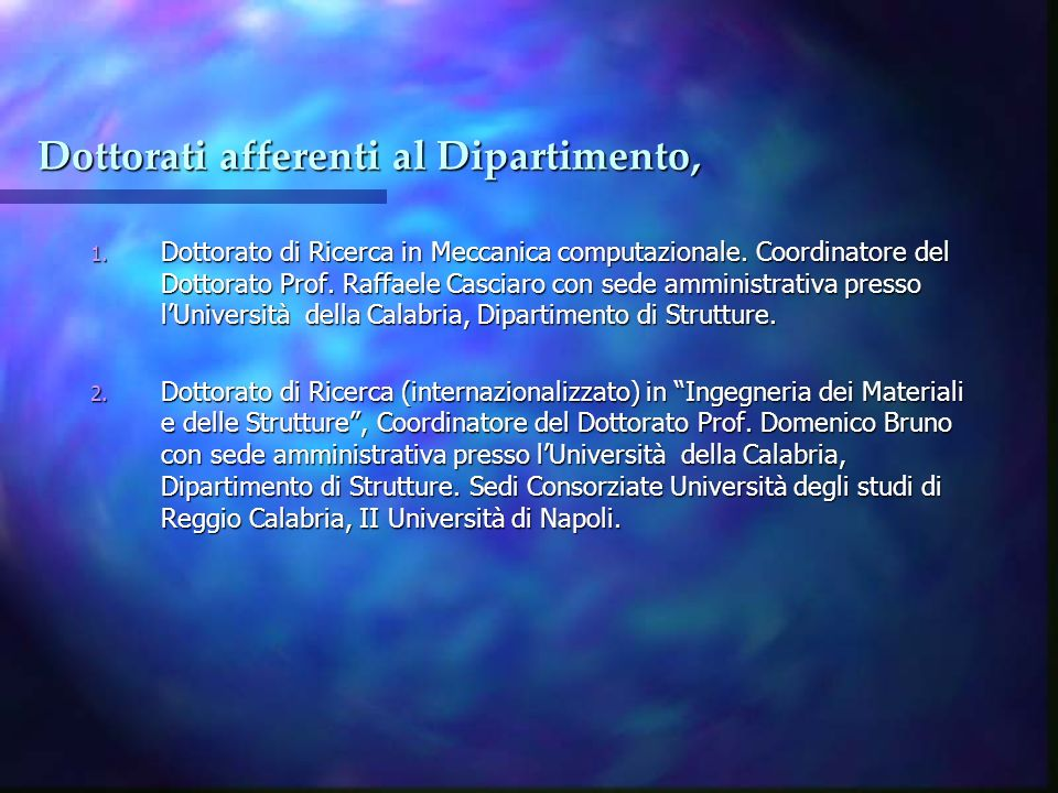 Dottorati afferenti al Dipartimento,