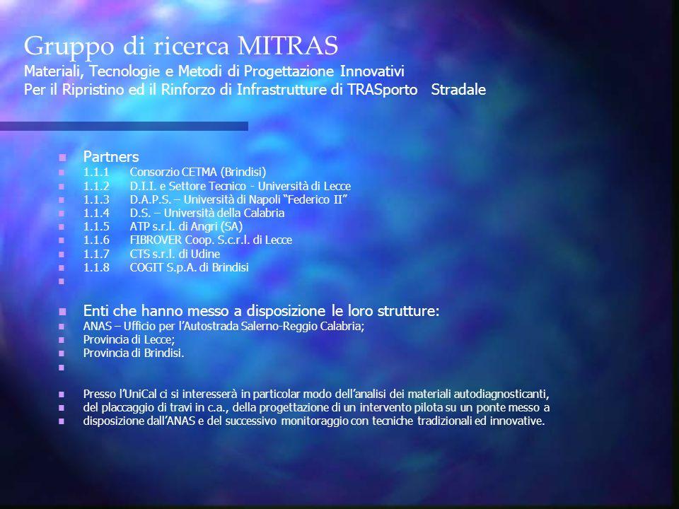 Gruppo di ricerca MITRAS Materiali, Tecnologie e Metodi di Progettazione Innovativi Per il Ripristino ed il Rinforzo di Infrastrutture di TRASporto Stradale