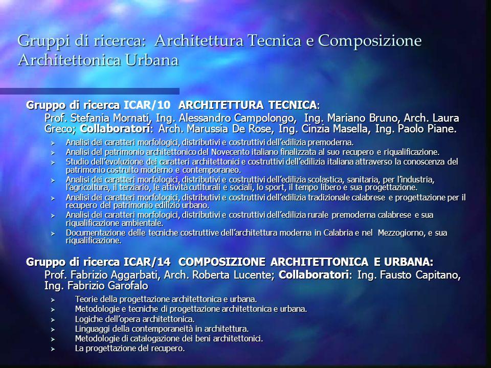 Gruppi di ricerca: Architettura Tecnica e Composizione Architettonica Urbana