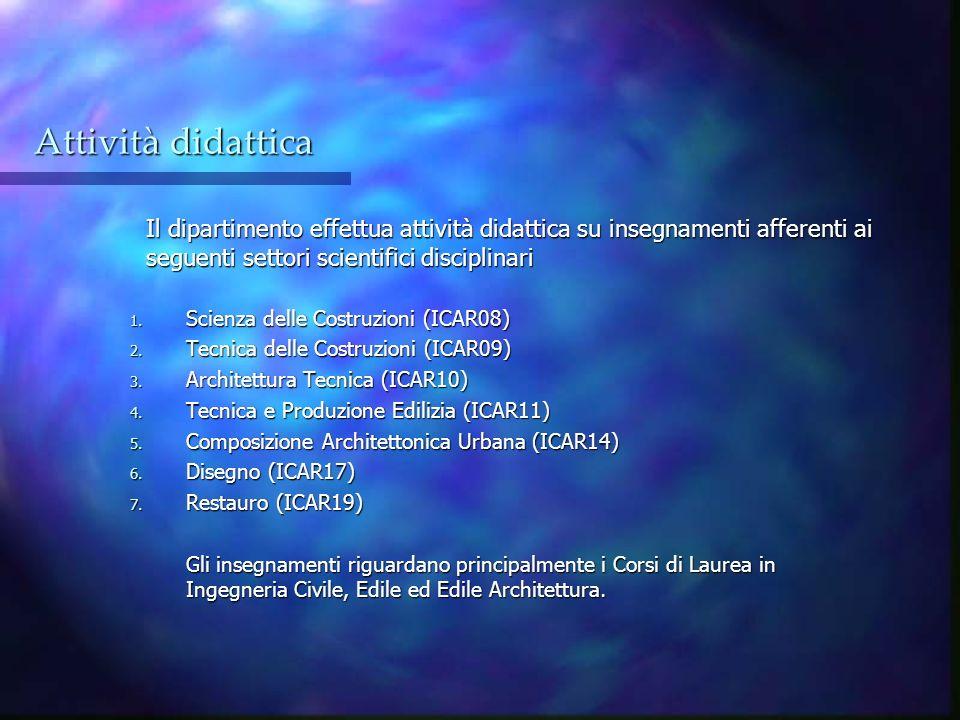 Attività didattica Il dipartimento effettua attività didattica su insegnamenti afferenti ai seguenti settori scientifici disciplinari.