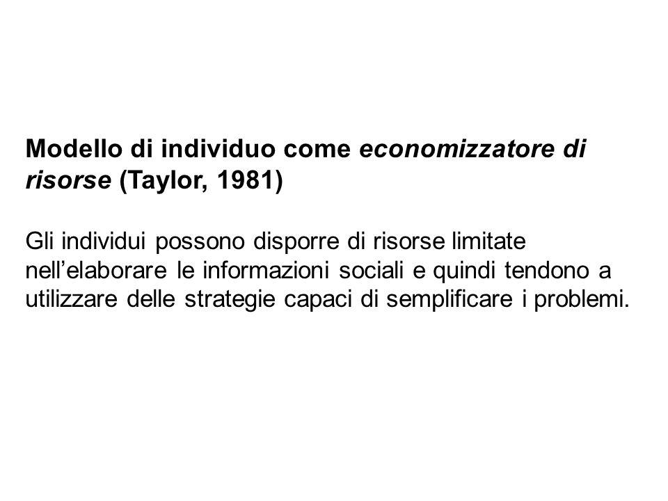 Modello di individuo come economizzatore di risorse (Taylor, 1981)