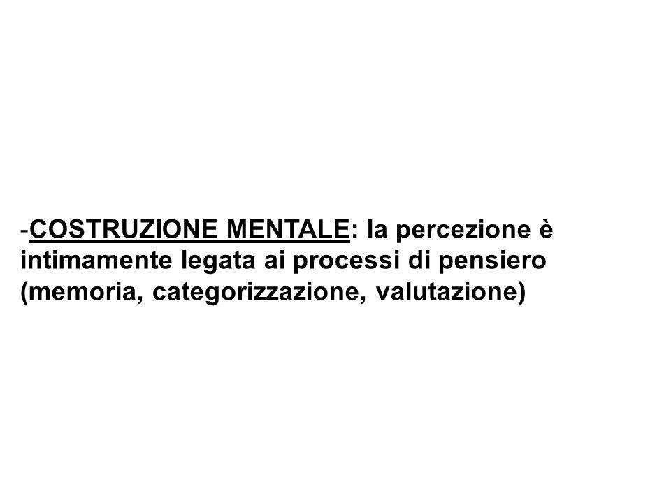 COSTRUZIONE MENTALE: la percezione è intimamente legata ai processi di pensiero (memoria, categorizzazione, valutazione)