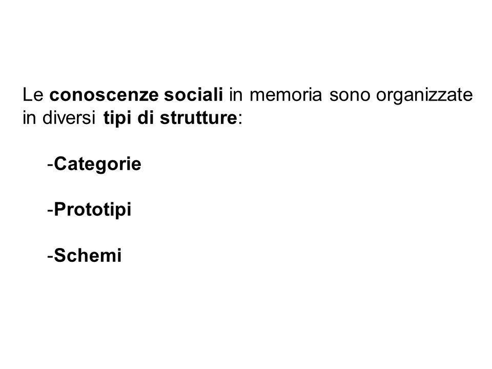 Le conoscenze sociali in memoria sono organizzate in diversi tipi di strutture: