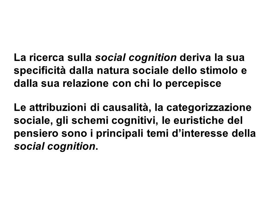 La ricerca sulla social cognition deriva la sua specificità dalla natura sociale dello stimolo e dalla sua relazione con chi lo percepisce