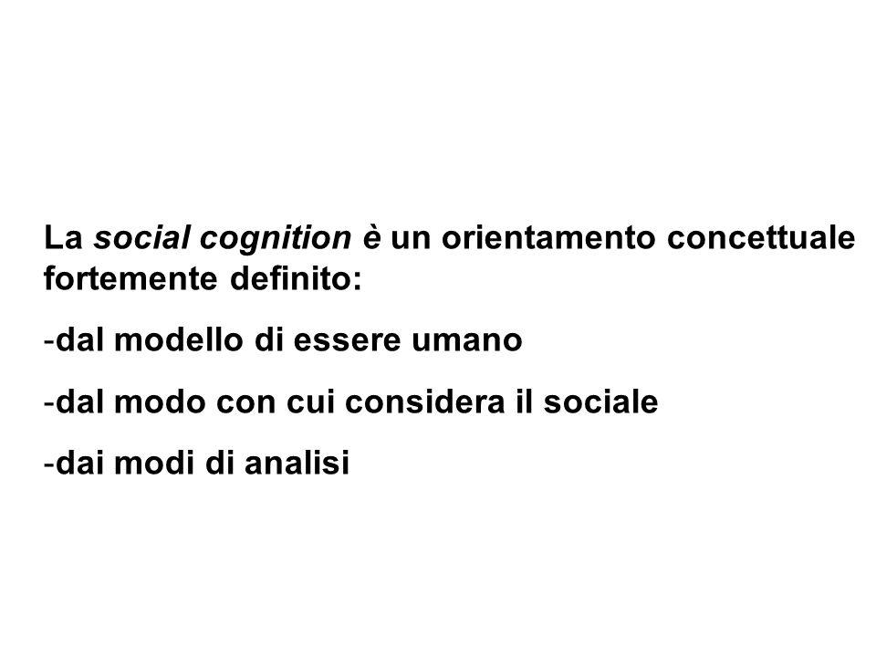 La social cognition è un orientamento concettuale fortemente definito: