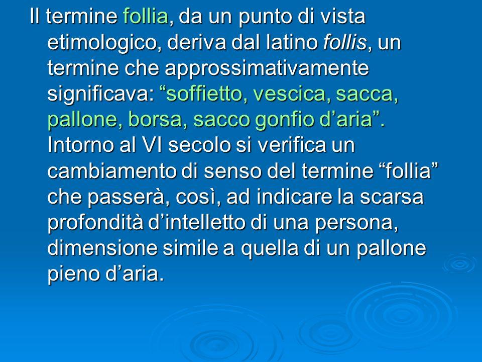 Il termine follia, da un punto di vista etimologico, deriva dal latino follis, un termine che approssimativamente significava: soffietto, vescica, sacca, pallone, borsa, sacco gonfio d'aria .