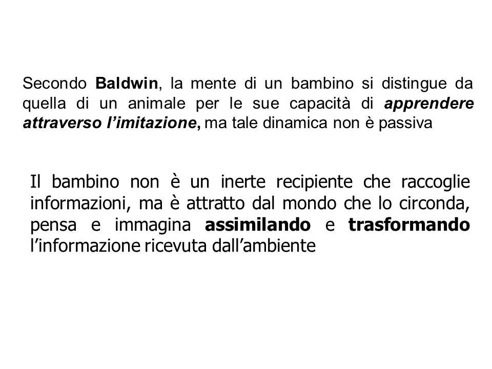 Secondo Baldwin, la mente di un bambino si distingue da quella di un animale per le sue capacità di apprendere attraverso l'imitazione, ma tale dinamica non è passiva