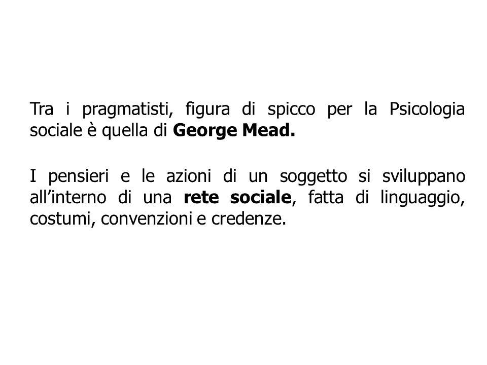 Tra i pragmatisti, figura di spicco per la Psicologia sociale è quella di George Mead.