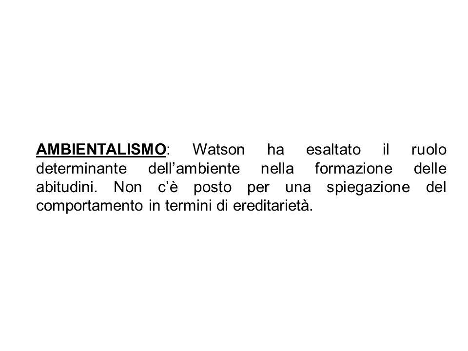 AMBIENTALISMO: Watson ha esaltato il ruolo determinante dell'ambiente nella formazione delle abitudini.
