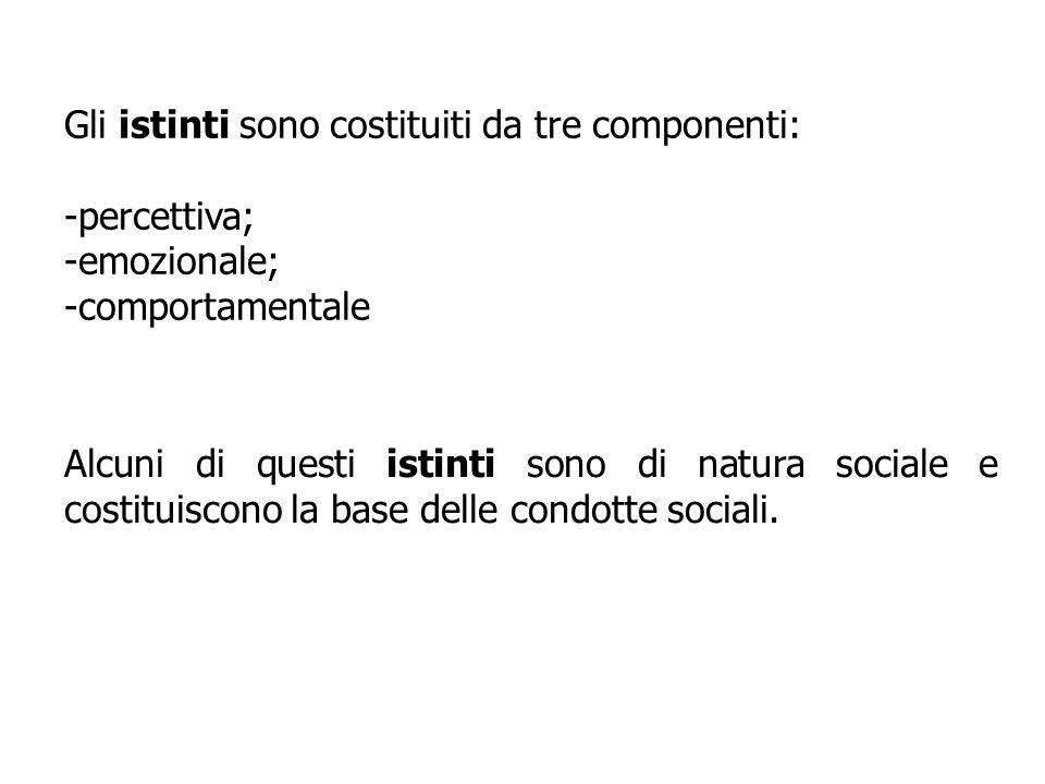 Gli istinti sono costituiti da tre componenti: