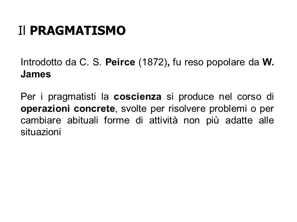 Il PRAGMATISMO Introdotto da C. S. Peirce (1872), fu reso popolare da W. James.