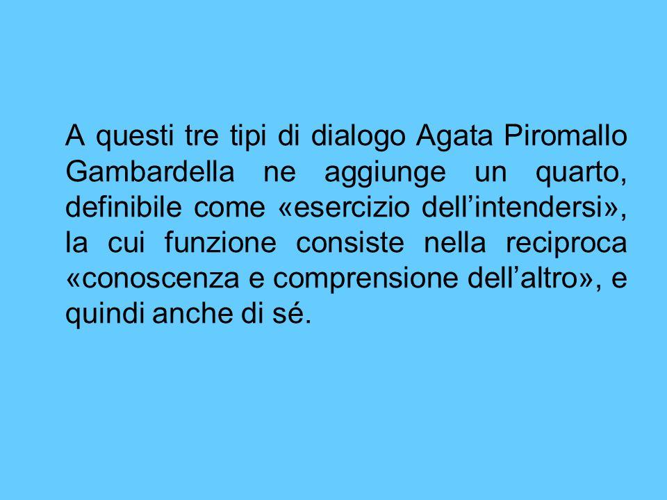 A questi tre tipi di dialogo Agata Piromallo Gambardella ne aggiunge un quarto, definibile come «esercizio dell'intendersi», la cui funzione consiste nella reciproca «conoscenza e comprensione dell'altro», e quindi anche di sé.