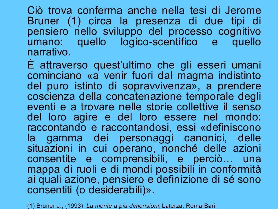 (1) Bruner J., (1993), La mente a più dimensioni, Laterza, Roma-Bari.