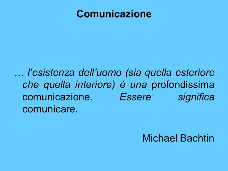 Comunicazione … l'esistenza dell'uomo (sia quella esteriore che quella interiore) è una profondissima comunicazione. Essere significa comunicare.