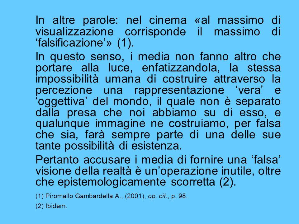 In altre parole: nel cinema «al massimo di visualizzazione corrisponde il massimo di 'falsificazione'» (1).