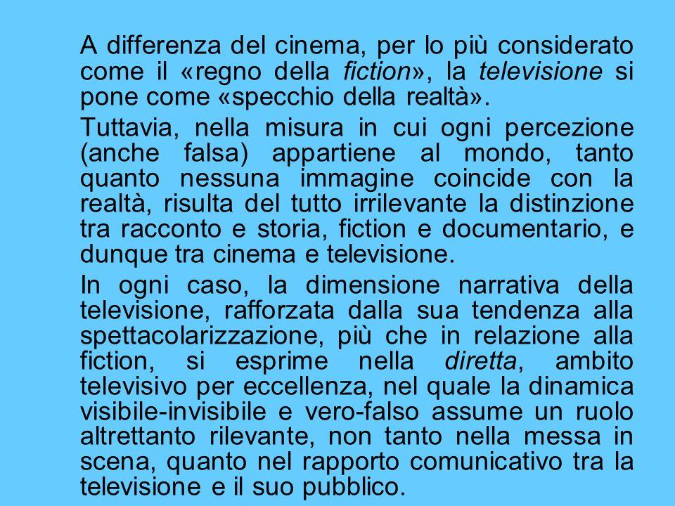 A differenza del cinema, per lo più considerato come il «regno della fiction», la televisione si pone come «specchio della realtà».