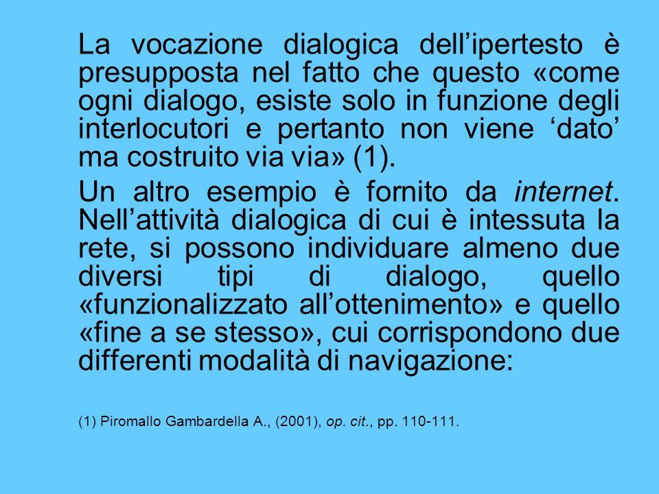 La vocazione dialogica dell'ipertesto è presupposta nel fatto che questo «come ogni dialogo, esiste solo in funzione degli interlocutori e pertanto non viene 'dato' ma costruito via via» (1).
