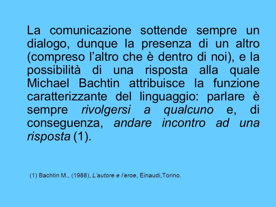 La comunicazione sottende sempre un dialogo, dunque la presenza di un altro (compreso l'altro che è dentro di noi), e la possibilità di una risposta alla quale Michael Bachtin attribuisce la funzione caratterizzante del linguaggio: parlare è sempre rivolgersi a qualcuno e, di conseguenza, andare incontro ad una risposta (1).