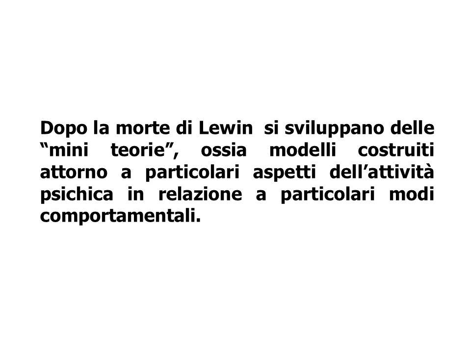 Dopo la morte di Lewin si sviluppano delle mini teorie , ossia modelli costruiti attorno a particolari aspetti dell'attività psichica in relazione a particolari modi comportamentali.