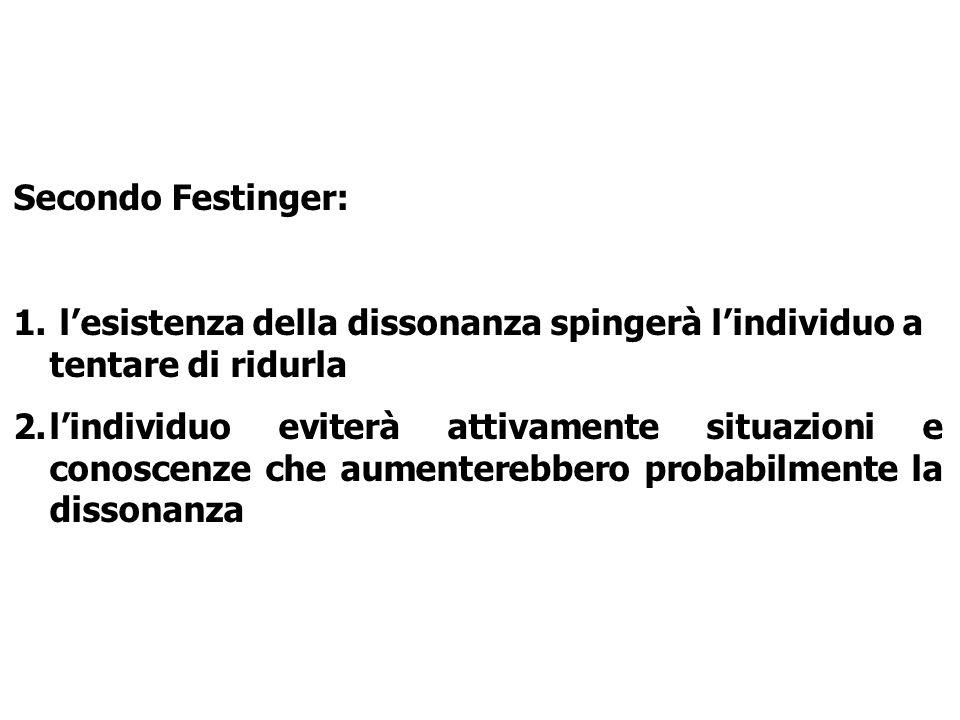 Secondo Festinger: l'esistenza della dissonanza spingerà l'individuo a tentare di ridurla.