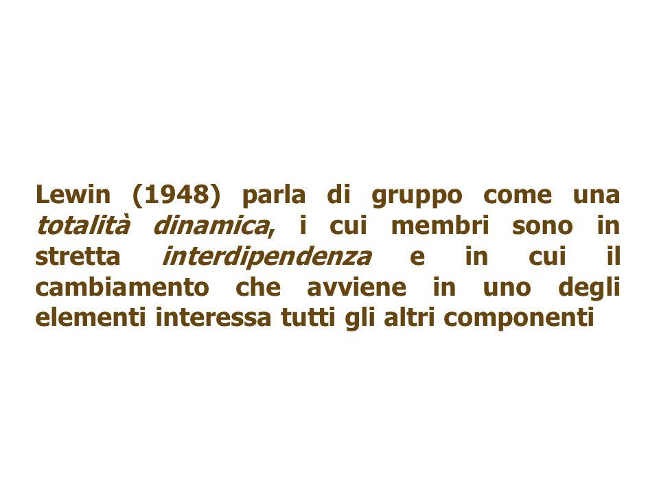 Lewin (1948) parla di gruppo come una totalità dinamica, i cui membri sono in stretta interdipendenza e in cui il cambiamento che avviene in uno degli elementi interessa tutti gli altri componenti
