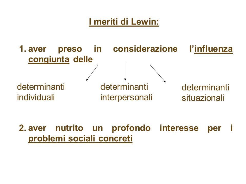 l meriti di Lewin: aver preso in considerazione l'influenza congiunta delle. determinanti individuali.