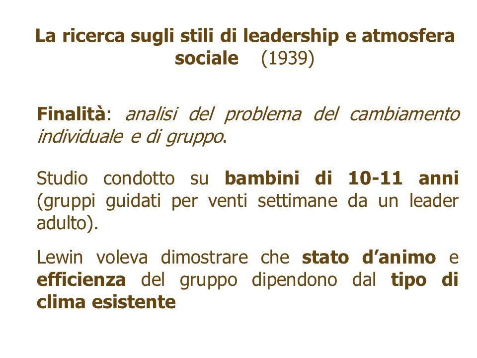 La ricerca sugli stili di leadership e atmosfera sociale (1939)