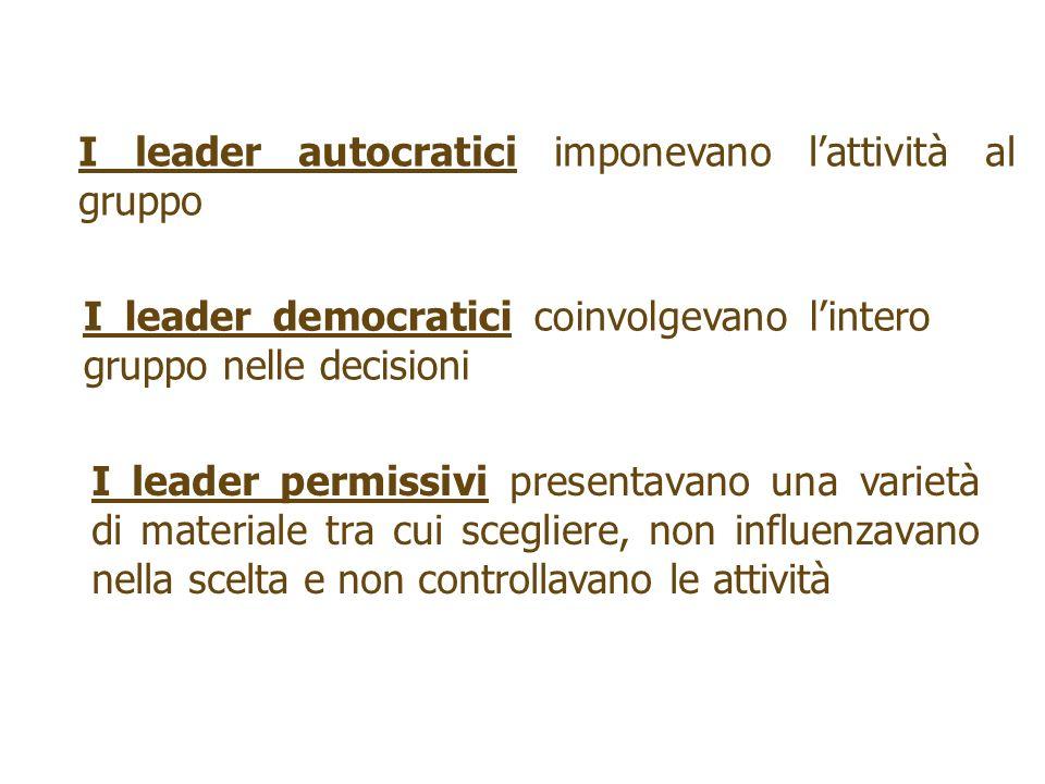 I leader autocratici imponevano l'attività al gruppo